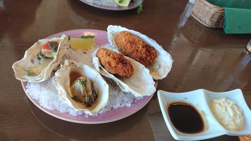 神戸モザイクで海をみながらカキのコースランチ