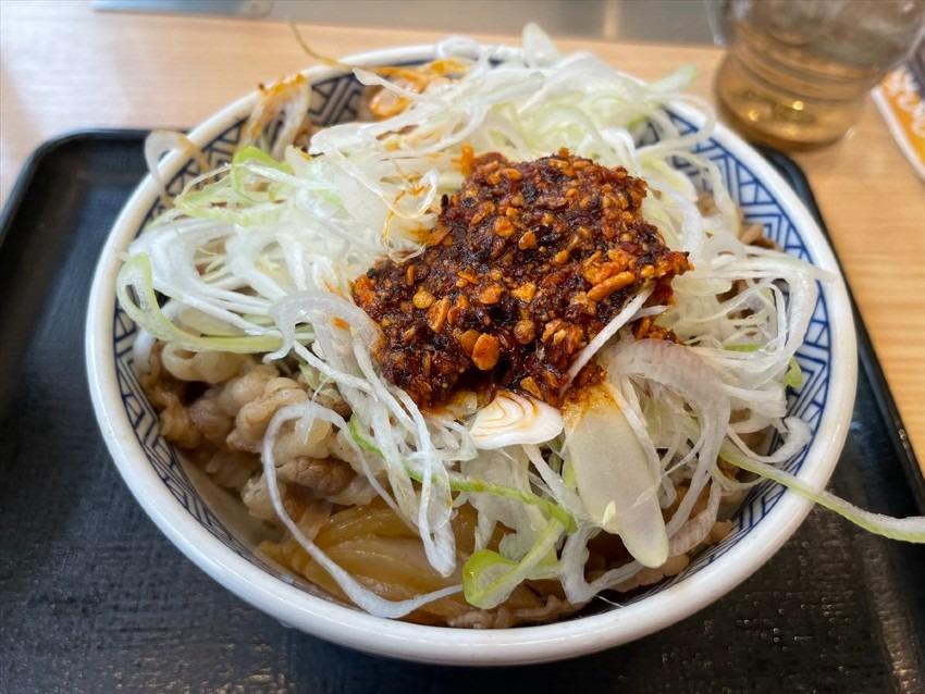 【吉野家】新メニュー?ねぎラー油牛丼を食べたよ 505円